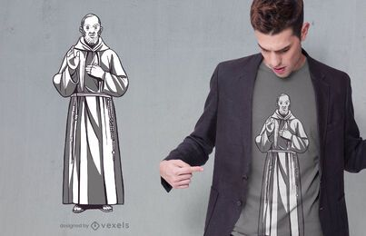Design de camiseta com a estátua do Padre Pio