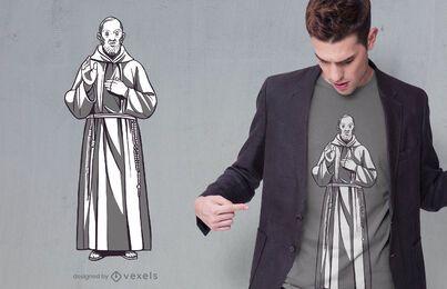 Diseño de camiseta de la estatua del padre pio