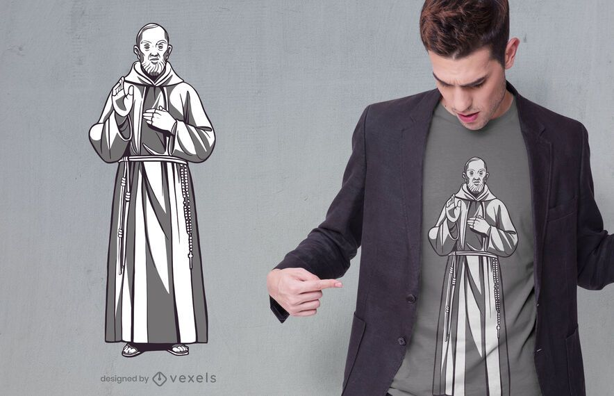 Design de camiseta com a estátua do Padre Pio