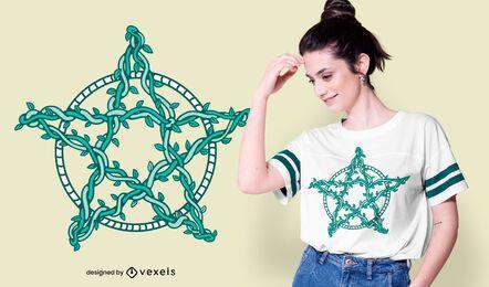 Design de camisetas pentagrama videiras