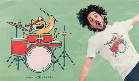 Diseño de camiseta de gato baterista