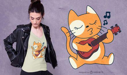 Diseño de camiseta de gato ukelele