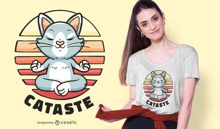 Diseño de camiseta cat namaste