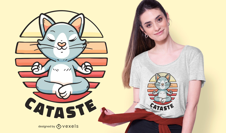 Cat namaste t-shirt design