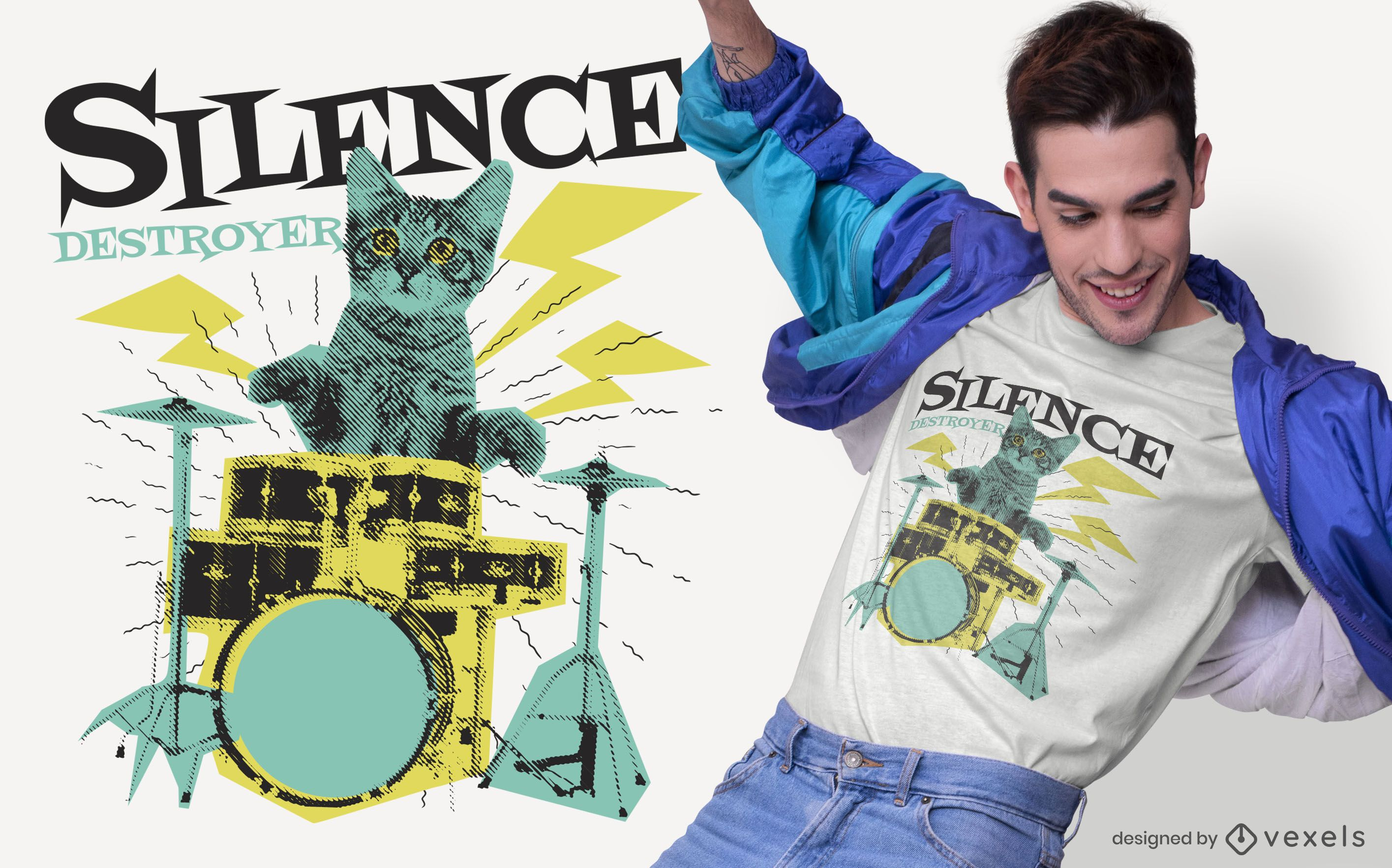 Diseño de camiseta de gato destructor de silencio.