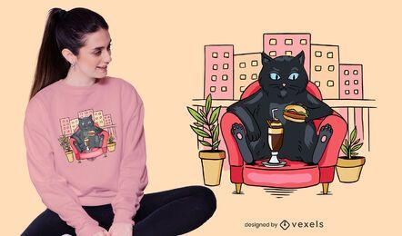 Design de t-shirt de gato na varanda
