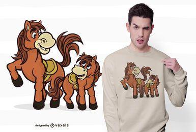 Diseño de camiseta de caballo con potro.