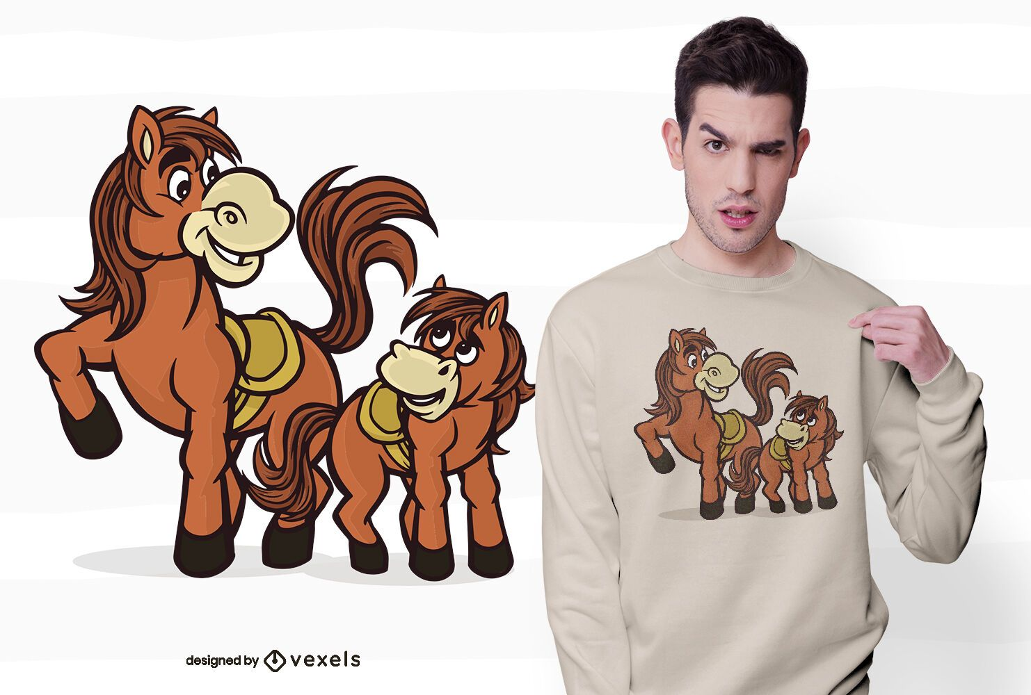 Horse with foal t-shirt design