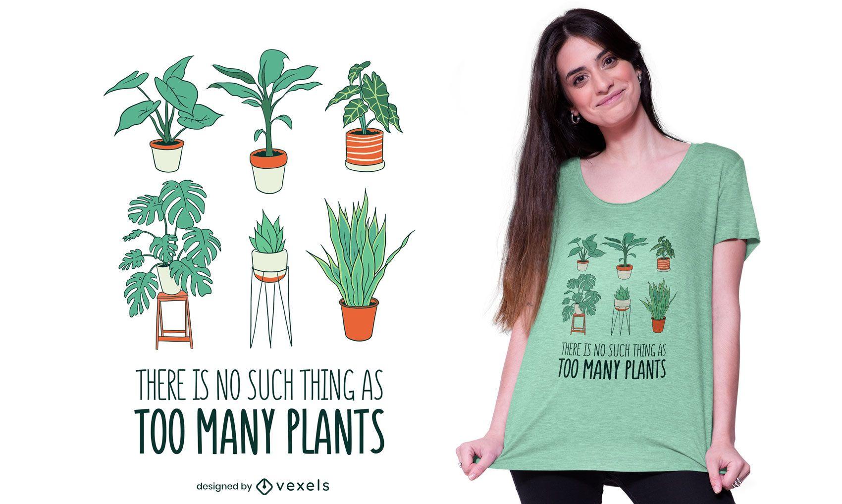 Muitas plantas com design de camisetas