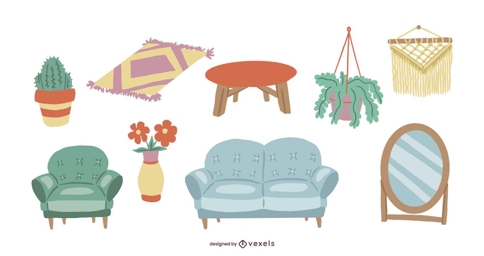 Conjunto de ilustración de muebles de interior