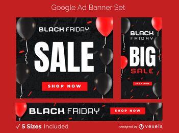 Conjunto de banner publicitario de venta de viernes negro