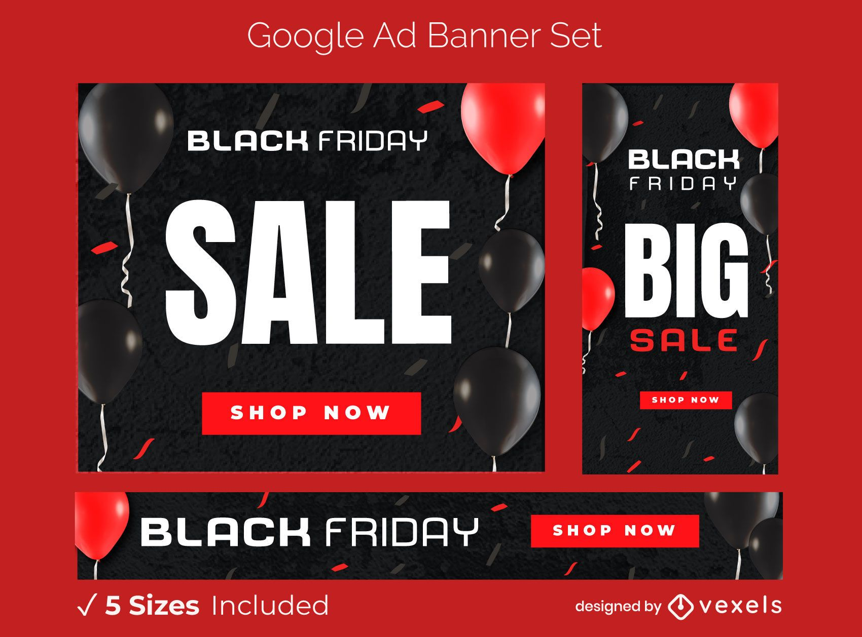 Black friday sale ad banner set