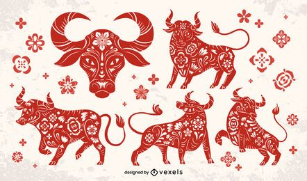 Chinese new year papercut bull set