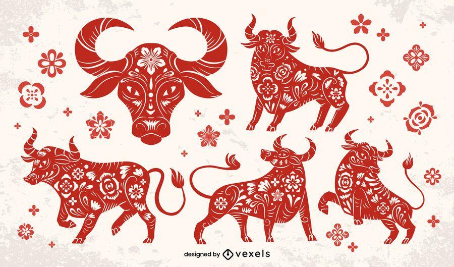 Conjunto de toros de papercut de año nuevo chino