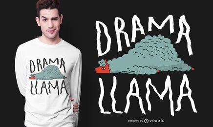 Diseño de camiseta de llama dramática.