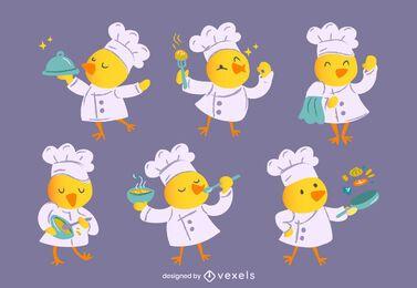 Conjunto de personagens chef garota