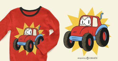 Desenho de camiseta do trator de desenho animado