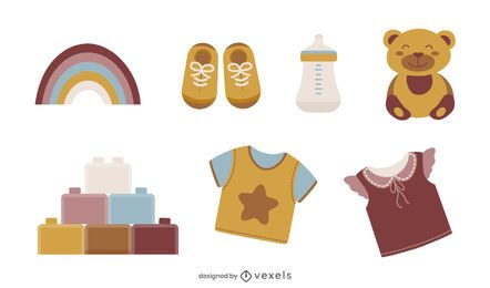 Conjunto de ilustración de elementos de bebé