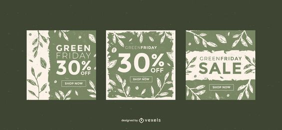 Conjunto de modelos de banner verde sexta-feira