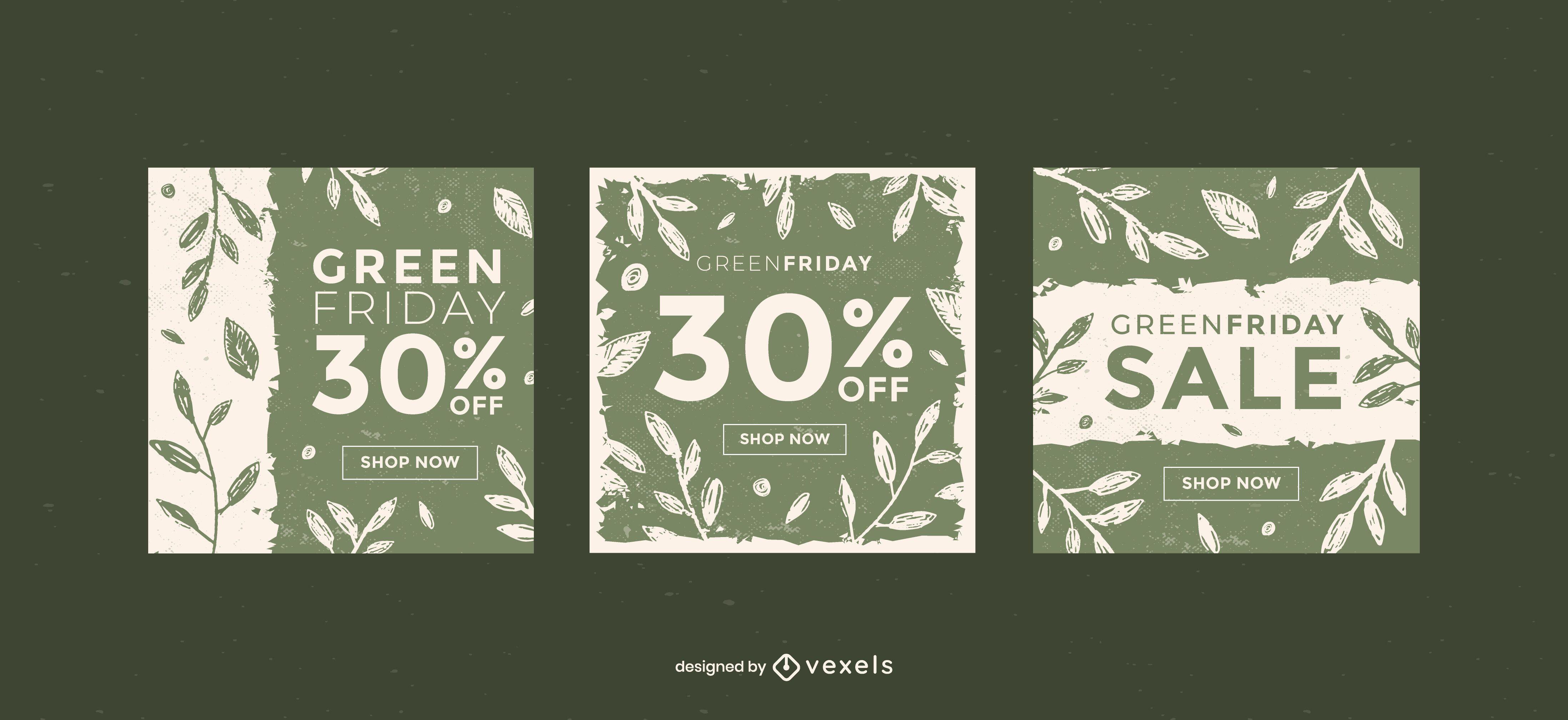 Conjunto de plantillas de banner de viernes verde