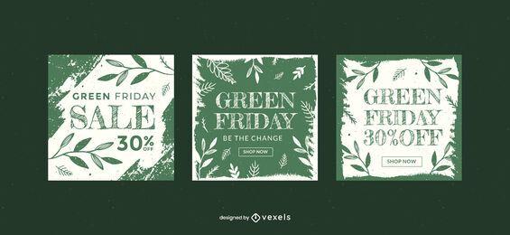 Conjunto de plantillas de banner de venta de viernes verde