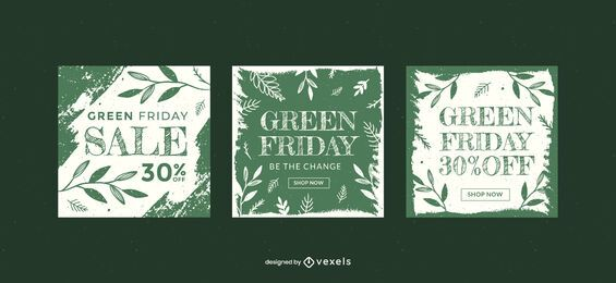 Green friday sale banner template set