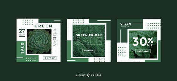Conjunto de modelos de banner promocional de Green Friday