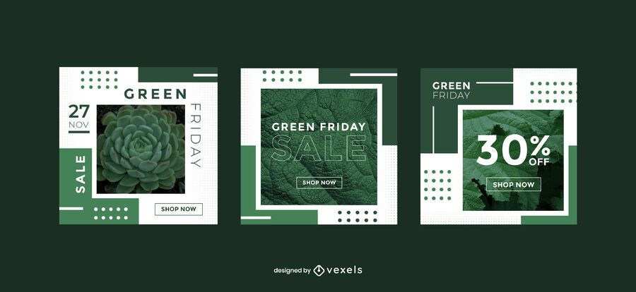 Green friday promo banner template set