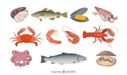 Conjunto de ilustração de marisco