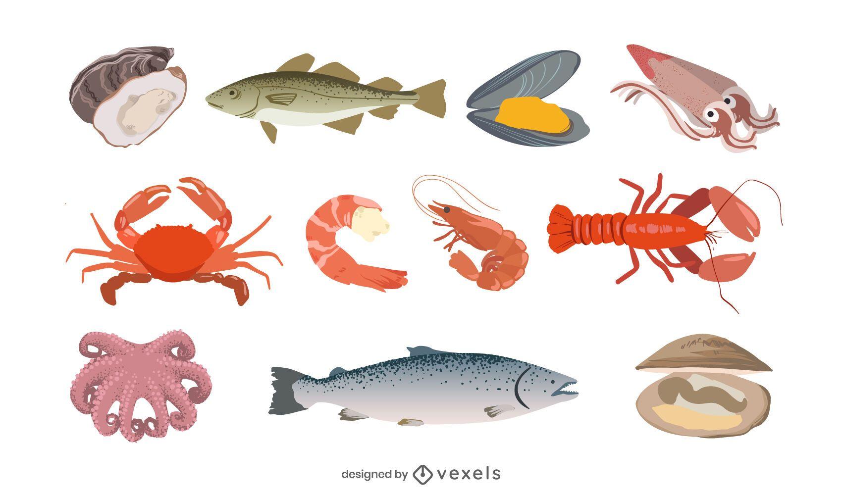 Conjunto de ilustración de mariscos