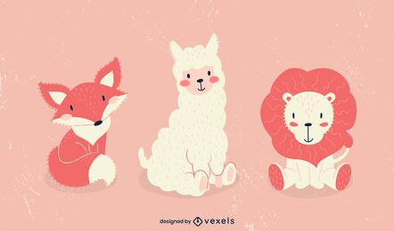Cute animals illustration set