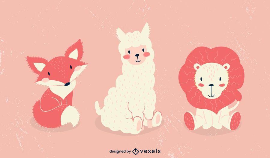 Conjunto de ilustración de animales lindos