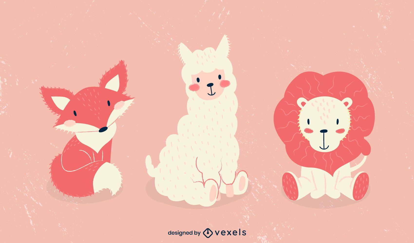 Cute animals illustration set