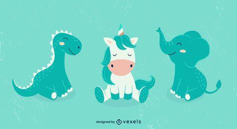 Diseño de conjunto de ilustración de animales lindos