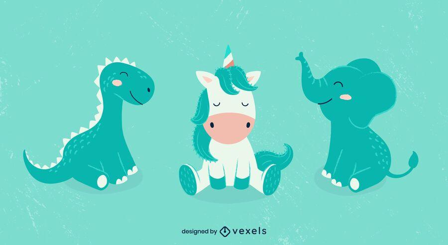 Cute animals illustration set design