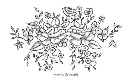 Desenho de ilustração de flores em preto e branco