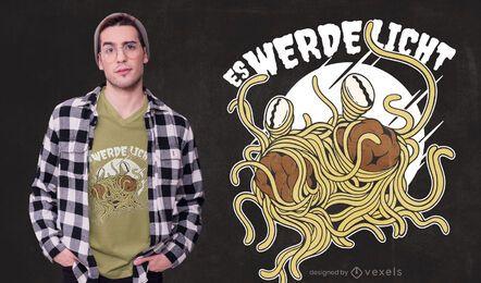 Diseño de camiseta de monstruo de espagueti volador