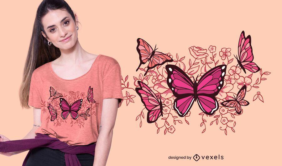 Diseño de camiseta de mariposas y flores.
