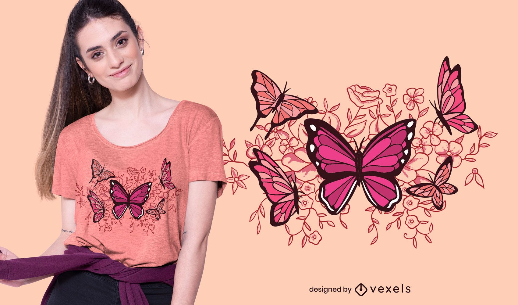 Dise?o de camiseta de mariposas y flores.