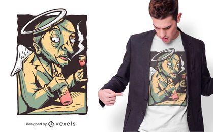 Diseño de camiseta de ángel bebiendo vino.