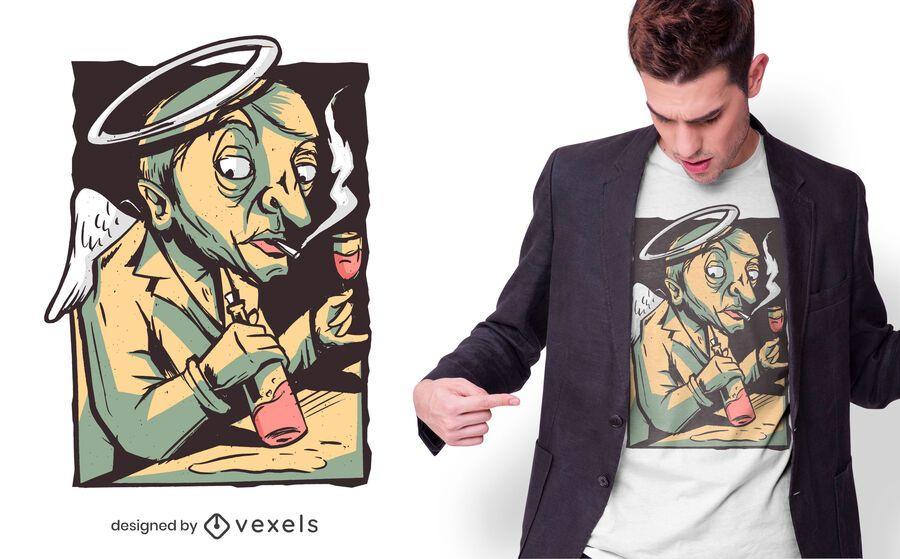 Angel drinking wine t-shirt design