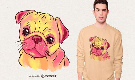 Desenho de camiseta pug aquarela