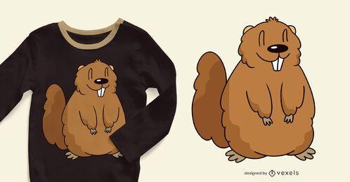 Design de camiseta de marmota fofa
