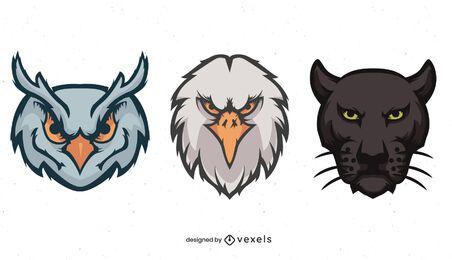 Animals heads illustration set
