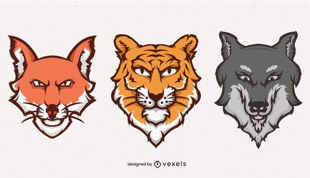 Animals heads illustration logo set