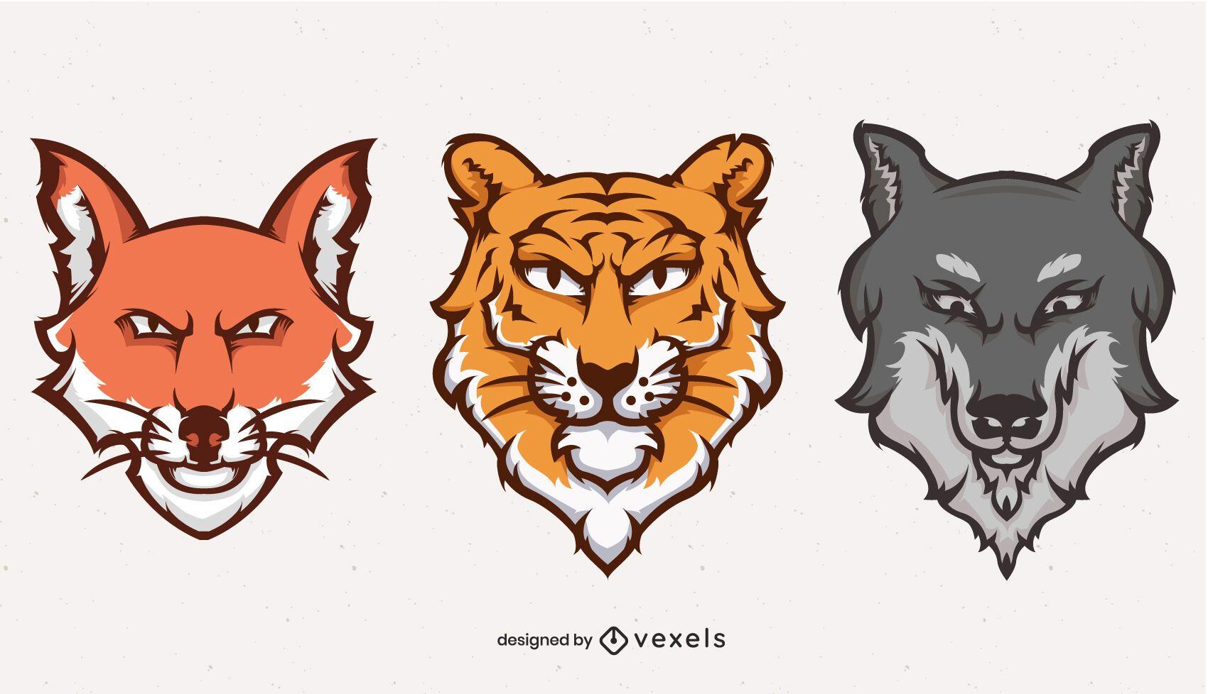 Conjunto de logotipo de ilustração de cabeças de animais