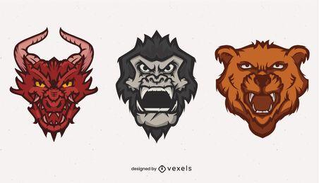 Conjunto de logotipo de animais que ruge