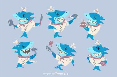 Conjunto de caracteres chef tubarão