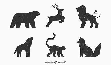 Conjunto de ícones de silhueta geométrica de animais