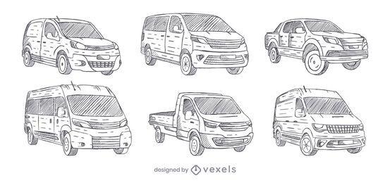 Conjunto de Vans desenhado à mão